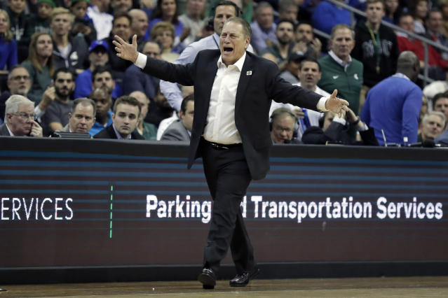 Michigan State head coach Tom Izzo reacts to a call during the first half of an NCAA college basketball game against Seton Hall on Thursday, Nov. 14, 2019, in Newark, N.J. (AP Photo/Adam Hunger)