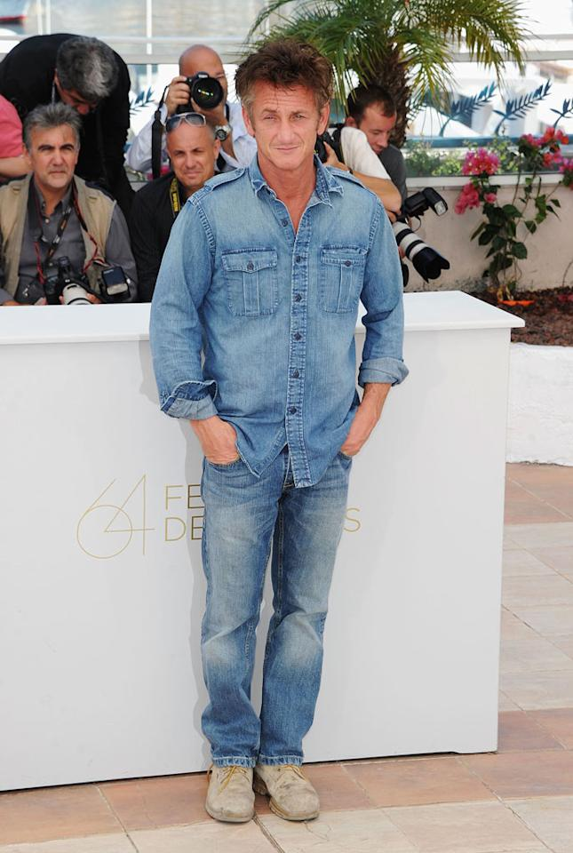 """Unfortunately, this denim-on-denim ensemble (coupled with those dirty shoes) made Sean Penn look a little like a construction worker ... at the Cannes Film Festival. But then again, who cares when you're an Oscar-winning actor?! Venturelli/<a href=""""http://www.wireimage.com"""" target=""""new"""">WireImage.com</a> - May 20, 2011"""