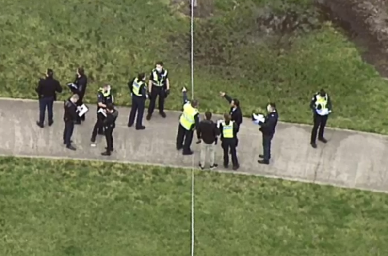 There was a large police presence at the Melbourne park following the fatal shooting. Source: Nine News