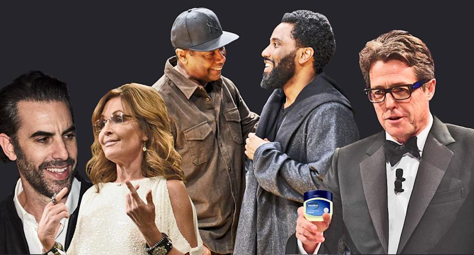 These Golden Globe nominees were more than just happy to be nominated. In their Golden Globes reaction statements, from left, Sacha Baron Cohen trolled Sarah Palin, John David Washington talked about getting the news with dad Denzel and Hugh Grant made a lewd — yet fitting — comment. (Photos: Getty Images; Yahoo Entertainment)