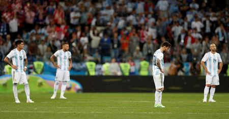 Soccer Football - World Cup - Group D - Argentina vs Croatia - Nizhny Novgorod Stadium, Nizhny Novgorod, Russia - June 21, 2018 Argentina's Lionel Messi looks dejected after Croatia's Ante Rebic scores their first goal REUTERS/Matthew Childs