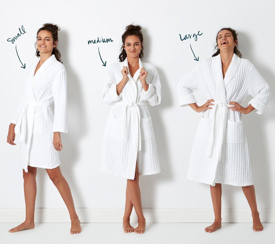 """<h3><a href=""""https://allswellhome.com/products/stonewashed-waffle-bathrobe"""" rel=""""nofollow noopener"""" target=""""_blank"""" data-ylk=""""slk:Allswell Stonewashed Waffle Bathrobe"""" class=""""link rapid-noclick-resp"""">Allswell Stonewashed Waffle Bathrobe</a></h3><br>This under-$100 robe is touted as, """"five-star-hotel-worthy,"""" with a 100%-cotton waffle weave that's stonewashed and preshrunk to be extra soft, absorbent, and true-to-size.<br><br>With 4.8 out of 5 stars, Allswell customers rave that this style is everything from """"Not too heavy or light. Just right. Very cozy."""" to """"The texture of this robe feels so amazing after getting out of the shower. It has a great weight to it and the material is so soft. Better than any robe I've ever tried."""" <br><br><strong>Allswell</strong> Stonewashed Waffle Bathrobe, $, available at <a href=""""https://go.skimresources.com/?id=30283X879131&url=https%3A%2F%2Fallswellhome.com%2Fproducts%2Fstonewashed-waffle-bathrobe"""" rel=""""nofollow noopener"""" target=""""_blank"""" data-ylk=""""slk:Allswell"""" class=""""link rapid-noclick-resp"""">Allswell</a>"""