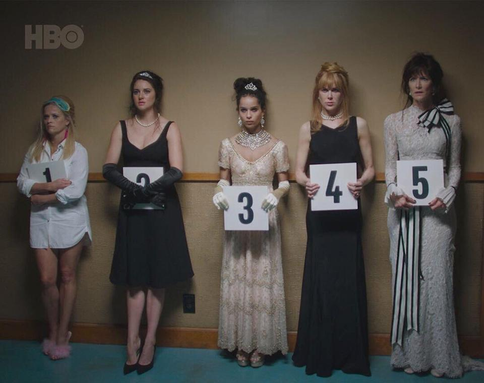 The cast of Big Little Lies during a scene where they're in a police lineup