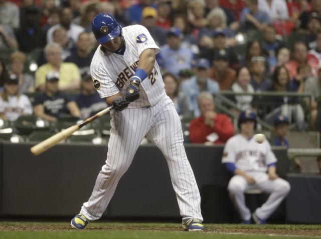 Milwaukee Brewers' Jesus Aguilar hits a walk off home run during the ninth inning of a baseball game against the St. Louis Cardinals Friday, June 22, 2018, in Milwaukee. The Brewers won 2-1. (AP Photo/Morry Gash)