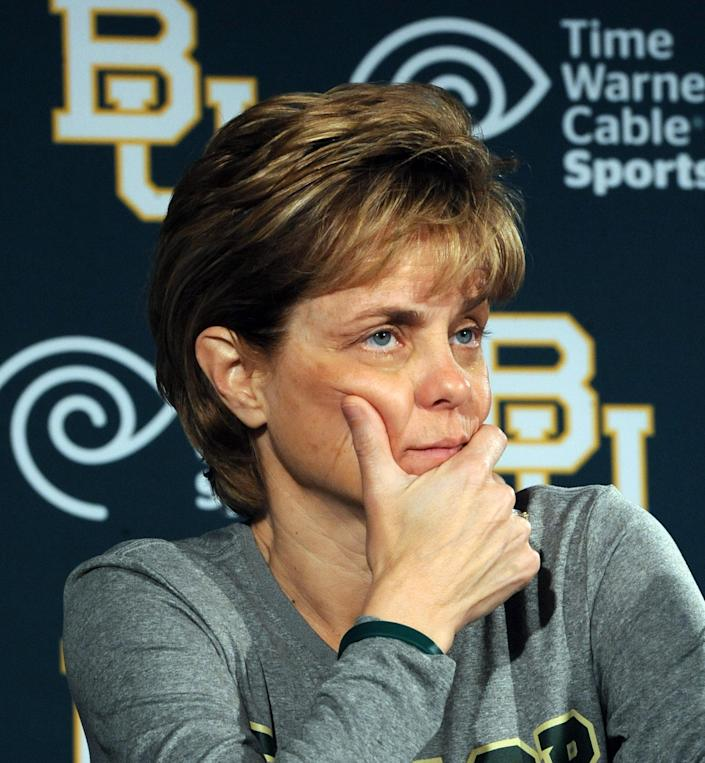Baylor head women's coach Kim Mulkey listens to a question after announcing she was diagnosed with Bell's Palsy during a news conference in Waco, Texas, Thursday, March 29, 2012. Baylor will play Stanford in an NCAA tournament Final Four semifinal college basketball game on Sunday. (AP Photo/Waco Tribune Herald, Rod Aydelotte)