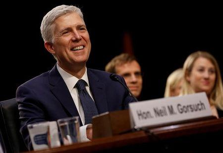 FILE PHOTO: Supreme Court nominee judge Gorsuch before Senate Judiciary Committee confirmation hearing in Washington