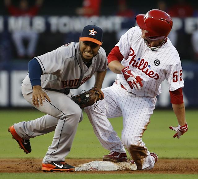 Philadelphia Phillies' David Buchanan, right, collides with Houston Astros shortstop Gregorio Petit at second base after Buchanan hit an RBI-single and tried to advance to second on the throw during the first inning of an interleague baseball game, Wednesday, Aug. 6, 2014, in Philadelphia. (AP Photo/Matt Slocum)