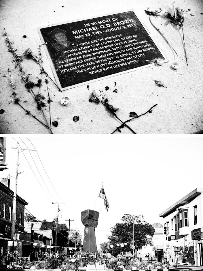 Top: A memorial in memory of Michael Brown in Ferguson, Mo. Bottom: The George Floyd memorial and surrounding area where George Floyd was killed in Minneapolis, Minn.