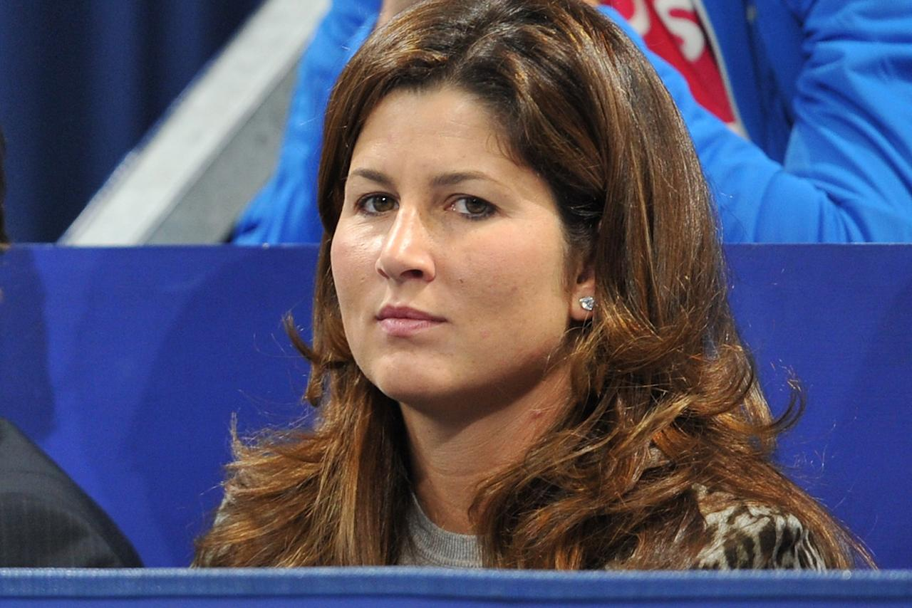 BASEL, SWITZERLAND - NOVEMBER 02:  Mirka Federer looks on during the match of her husband Roger Federer of Switzerland against Jarkko Nieminen of Finland during day three of the Swiss Indoors at St Jakobshalle on November 2, 2011 in Basel, Switzerland.  (Photo by Harold Cunningham/Getty Images)