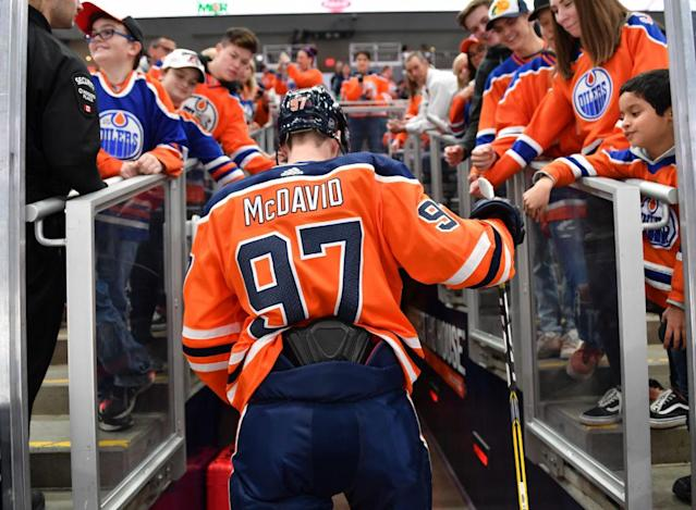 "<a class=""link rapid-noclick-resp"" href=""/nhl/players/6743/"" data-ylk=""slk:Connor McDavid"">Connor McDavid</a>'s <a class=""link rapid-noclick-resp"" href=""/nhl/teams/edm/"" data-ylk=""slk:Edmonton Oilers"">Edmonton Oilers</a> are in a massive tailspin. (Getty Images)"