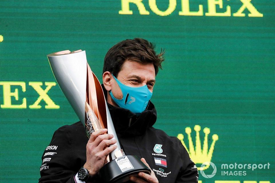 """Toto Wolff, Executive Director (Business), Mercedes AMG, collects the Constructors trophy for Mercedes<span class=""""copyright"""">Steven Tee / Motorsport Images</span>"""