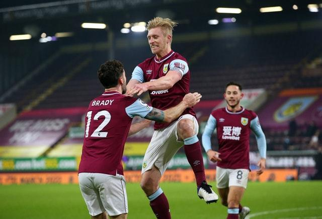 Ben Mee celebrates scoring the only goal of the game