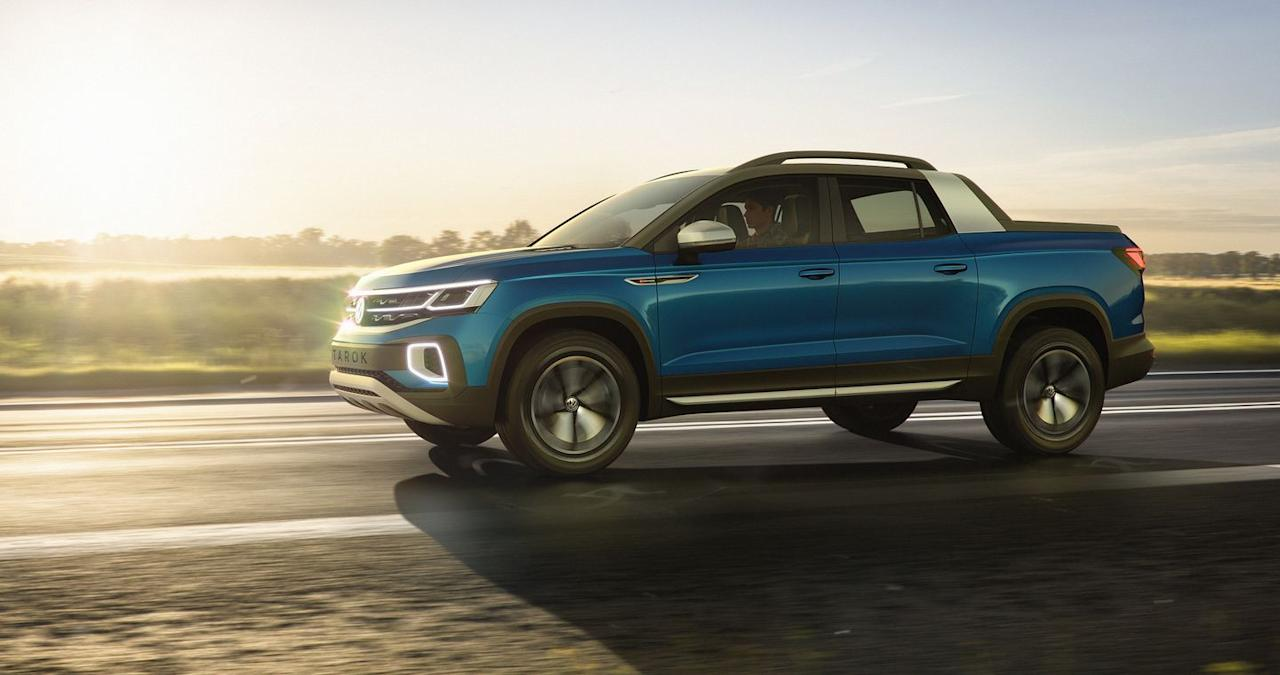"""<p>Volkswagen spokesman Mark Gillies told <em>C/D</em> that VW has """"evidence"""" that some buyers think of pickups as """"too big, pricey, and not very fuel efficient, so we want to see what reaction would be to a smaller and more fuel-efficient concept."""" Is there room for a smaller, more fuel-efficient, unibody pickup truck here among the larger mid- and full-size trucks currently selling like hotcakes?</p>"""