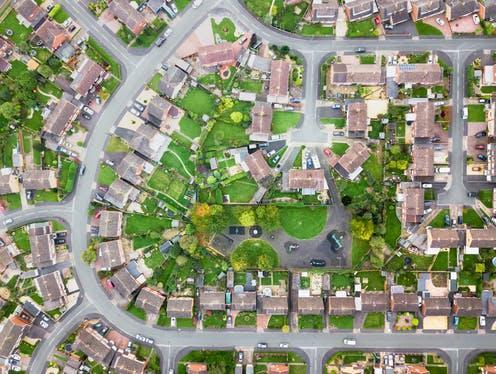 """<span class=""""caption"""">The 2021 census will help show the changes wrought by a year of COVID-19.</span> <span class=""""attribution""""><a class=""""link rapid-noclick-resp"""" href=""""https://www.shutterstock.com/image-photo/aerial-view-traditional-housing-estate-england-1044441571"""" rel=""""nofollow noopener"""" target=""""_blank"""" data-ylk=""""slk:K303/Shutterstock"""">K303/Shutterstock</a></span>"""