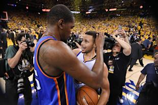Kevin Durant and Steph Curry are teaming up. (AP)