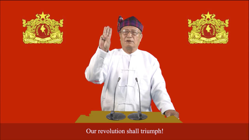 """This image made from video by National Unity Government (NUG) via Facebook, shows Duwa Lashi La, the acting president of the National Unity Government (NUG), posted on Tuesday, Sept. 7, 2021 in Myanmar. Myanmar's NUG, an underground body coordinating resistance to the military regime, on Tuesday called for a nationwide uprising. The shadow government's acting president Duwa Lashi La called for revolt """"in every village, town and city in the entire country at the same time"""" against the military-installed government and declared a so-called """"state of emergency."""" (National Unity Government via Facebook via AP)"""