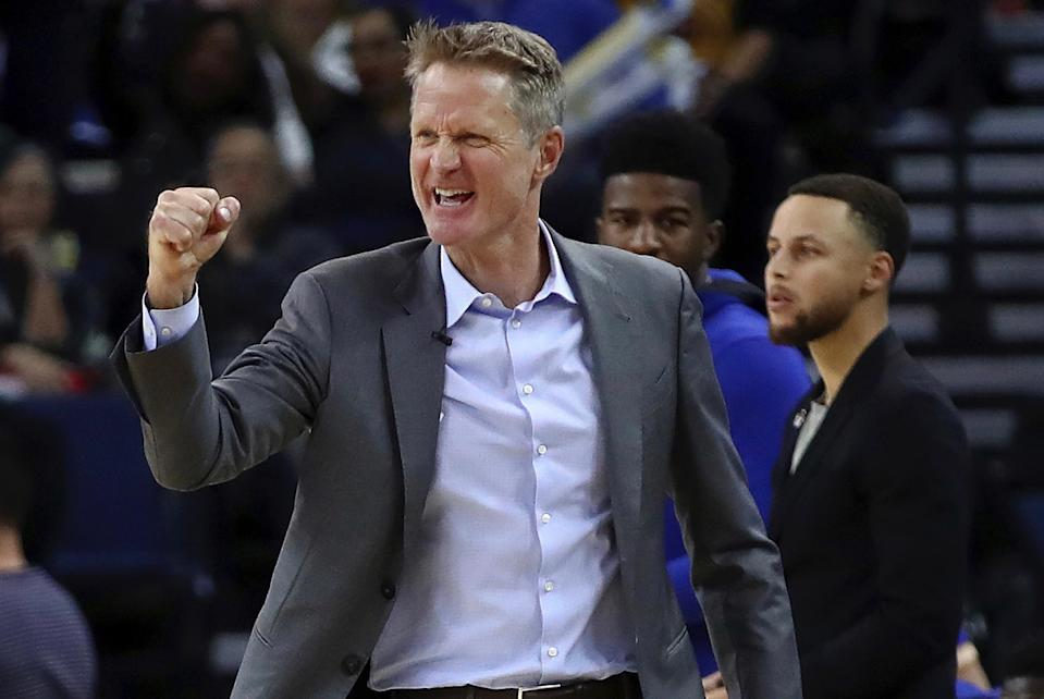 Steve Kerr coached an entire NBA game that started almost 2 hours after NLCS Game 4 and still had time to watch his Dodgers win. (AP)