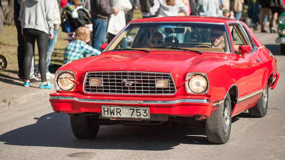 NORRKOPING, SWEDEN - MAY 1: Ford Mustang II Ghia 1975 at classic car parade celebrates spring on May 1, 2013 in Norrkoping, Sweden.