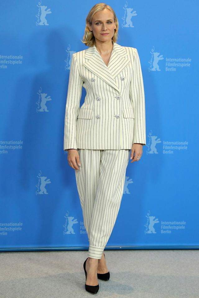 <p><strong>10 February</strong> Earlier in the day the actress wore a striped suit to attend a photocall and press conference for the film.</p>
