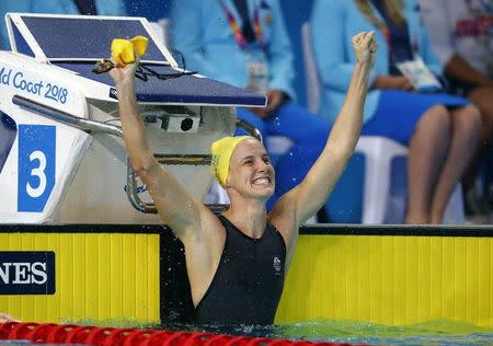 FILE PHOTO - Swimming - Gold Coast 2018 Commonwealth Games - Women's 100m Freestyle - Final - Optus Aquatic Centre - Gold Coast, Australia - April 9, 2018. Bronte Campbell of Australia reacts. REUTERS/David Gray