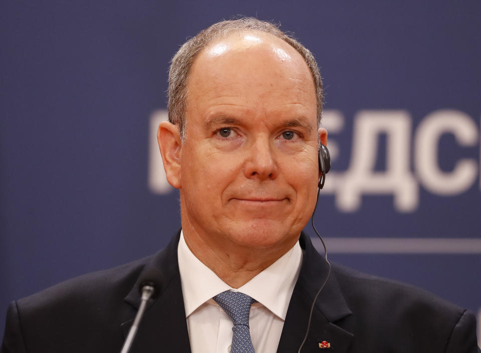 BELGRADE, SERBIA - OCTOBER 07: Prince Albert II of Monaco during the press conference with Serbian President Aleksandar Vucic (unseen) after their meeting at the Serbia Palace on October 7, 2020 in Belgrade, Serbia. (Photo by Srdjan Stevanovic/Getty Images)