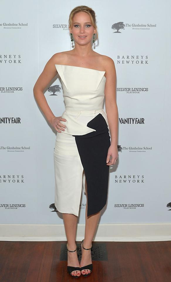 "Jennifer Lawrence attends the Vanity Fair, Barneys New York and The Weinstein Company celebration of ""Silver Linings Playbook"" in support of The Glenholme School on February 20, 2013 in Los Angeles, California"