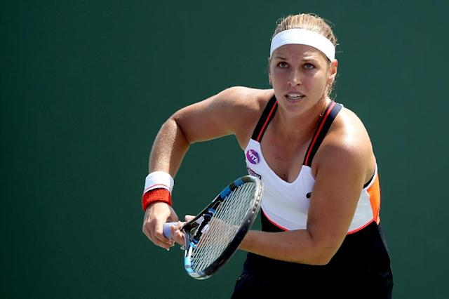 Dominika Cibulkova of Slovakia chases down a ball while playing Veronica Cepede Royg of Paraguay during their Miami Open match, at the Crandon Park Tennis Center in Key Biscayne, Florida, on March 23, 2017 (AFP Photo/Matthew Stockman)