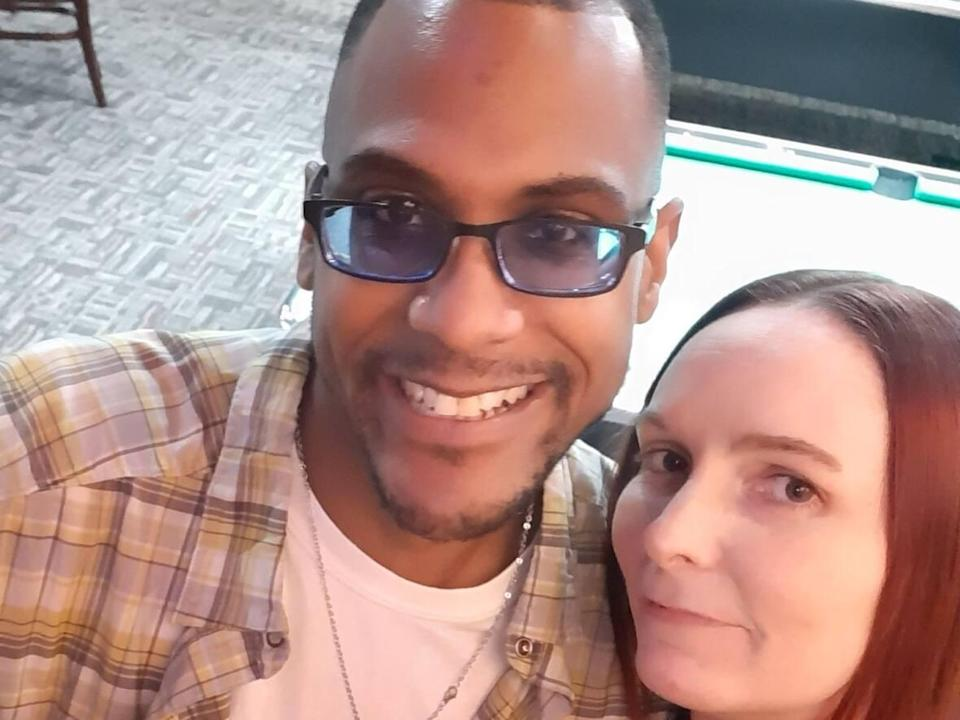 Tina Ouellette and her boyfriend James Washington haven't seen one another since last August. (Submitted by Tina Ouellette - image credit)