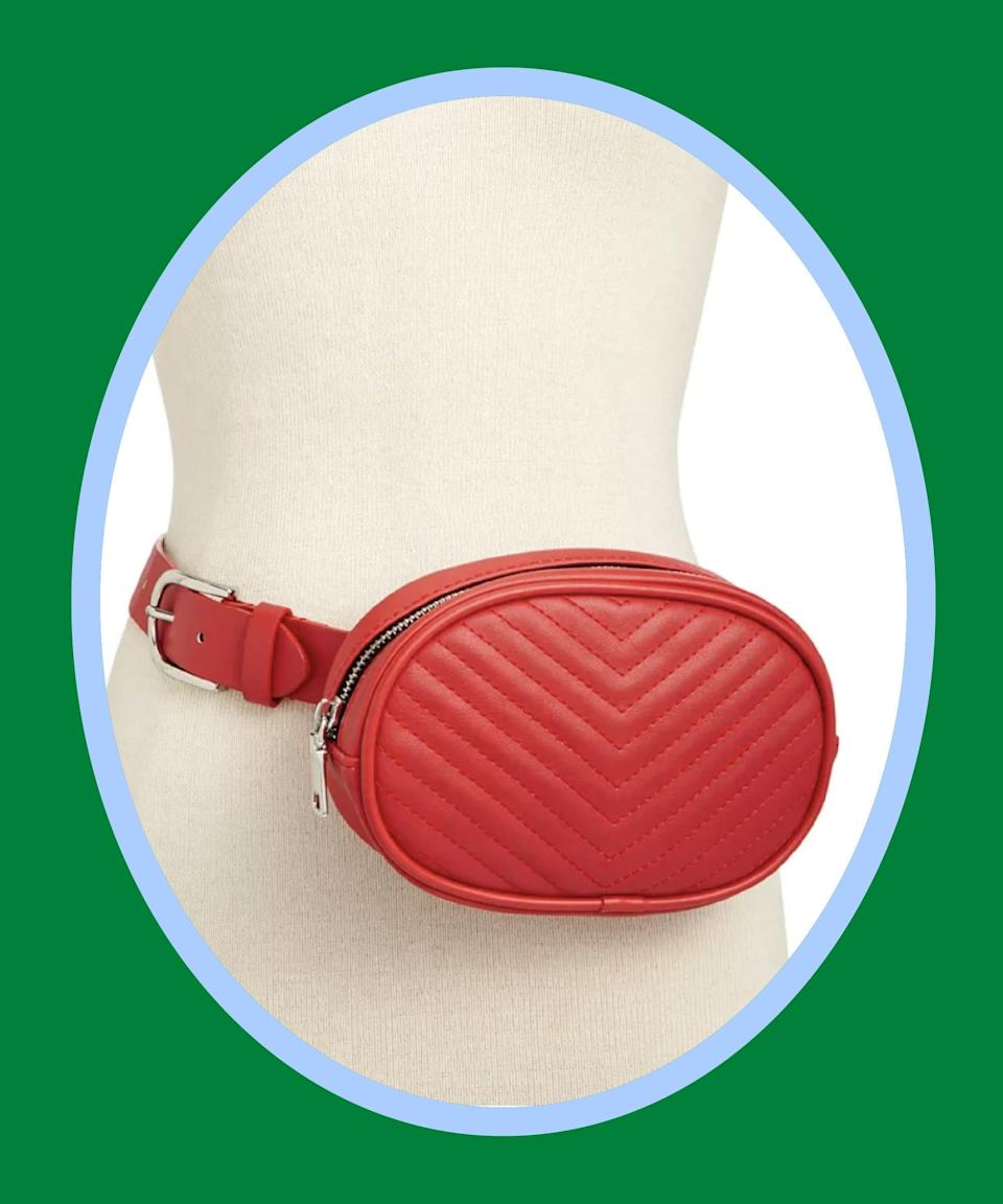 """<br><br><strong>Steve Madden</strong> Chevron Quilted Fanny Pack, $, available at <a href=""""https://go.skimresources.com/?id=30283X879131&url=https%3A%2F%2Fwww.macys.com%2Fshop%2Fproduct%2Fsteve-madden-chevron-quilted-plus-size-fanny-pack%3FID%3D9185906%26CategoryID%3D26846%26isDlp%3Dtrue%26isDlp%3Dtrue%26swatchColor%3DRed%252FSilver"""" rel=""""nofollow noopener"""" target=""""_blank"""" data-ylk=""""slk:Macy's"""" class=""""link rapid-noclick-resp"""">Macy's</a>"""