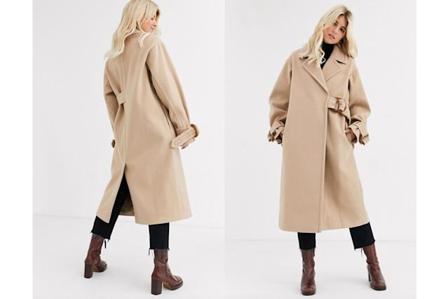 ASOS DESIGN contrast stitch coat with buckle detail in camel