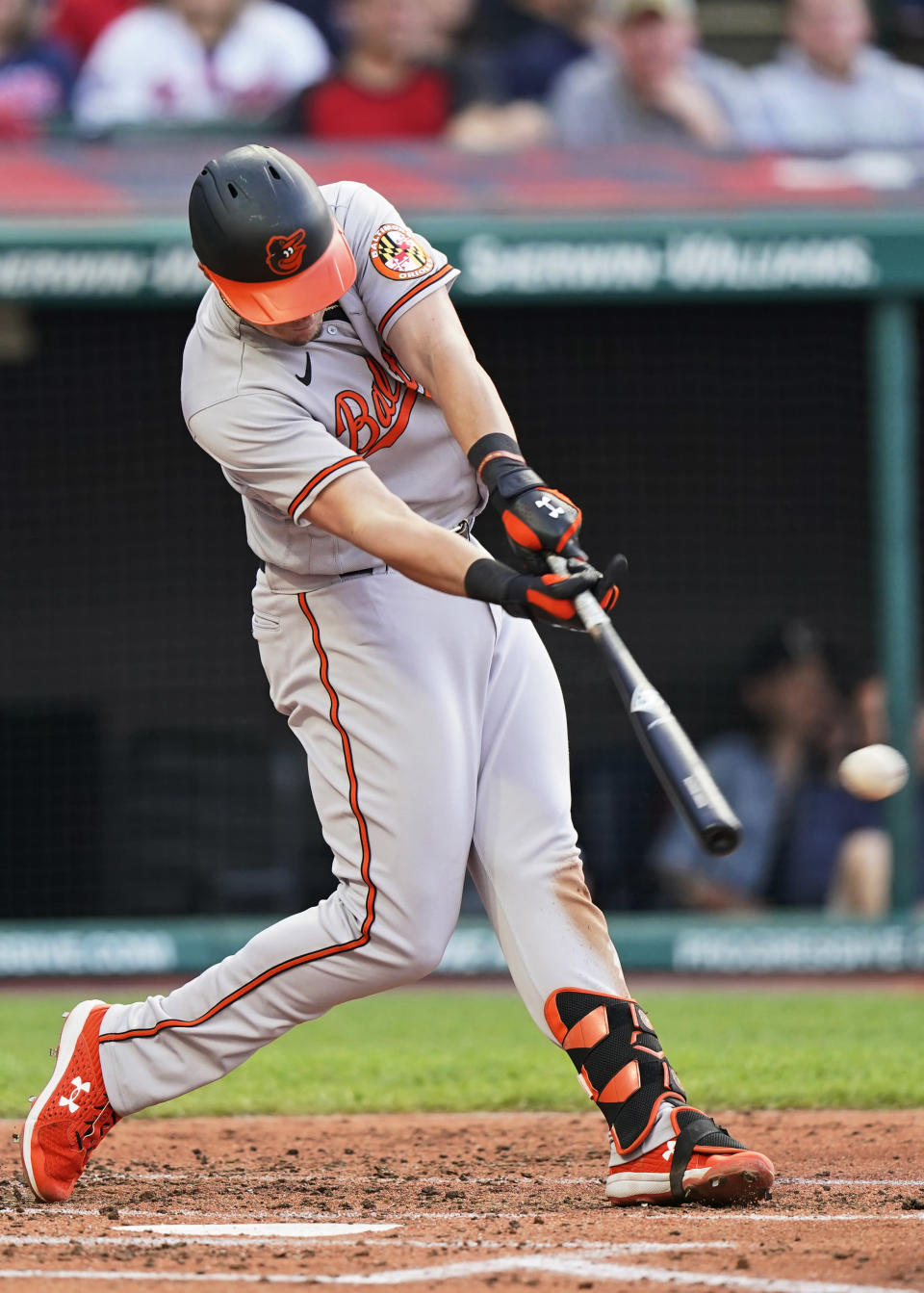 Baltimore Orioles' Ryan Mountcastle hits an RBI single during the third inning of the team's baseball game against the Cleveland Indians on Wednesday, June 16, 2021, in Cleveland. (AP Photo/Tony Dejak)