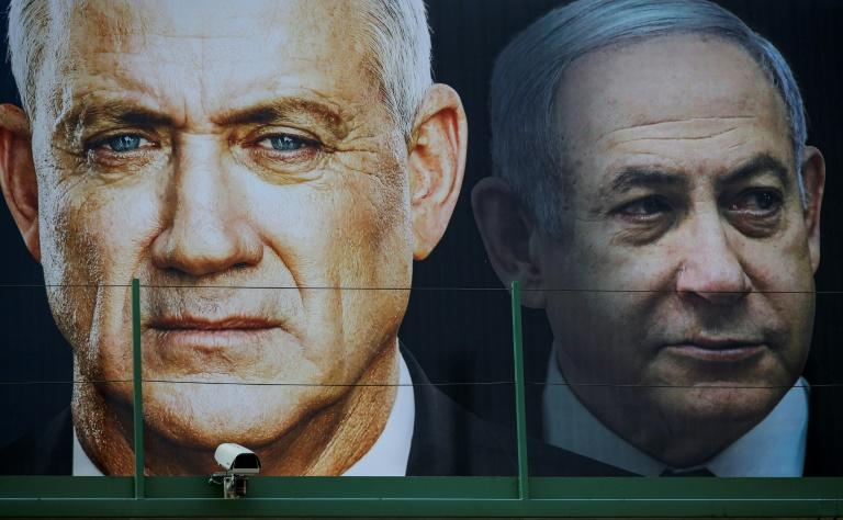 Israel's indicted Prime Minister Benjamin Netanyahu and his rival Benny Gantz have agreed on a unity government, after three divisive elections in less than a year (AFP Photo/JACK GUEZ)