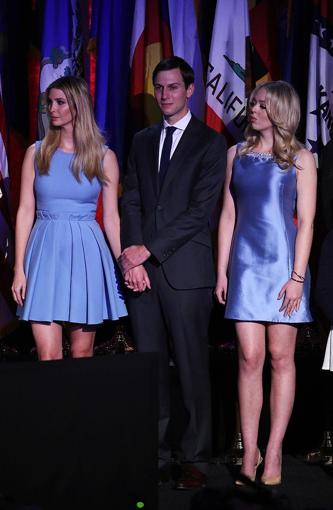 <p>All eyes were on Tiffany in her blue taffeta minidress on election night. <i> (Photo: Getty) </i> </p>