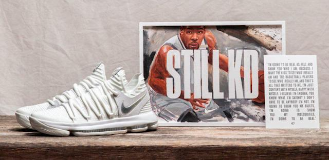 Kevin Durant's 10th signature shoe introduces Nike's Flyknit upper material. (Nike)