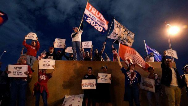 PHOTO: Supporters of President Donald Trump protest in front of the Clark County Election Department after the Nov. 3 elections, Friday, Nov. 6, 2020, in North Las Vegas. (Jae C. Hong/AP)