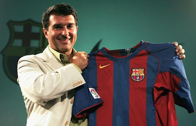 LISBON, PORTUGAL - JUNE 21: FC Barcelona President Joan Loporta presents the club's new Zero Distraction Nike kit for the 2004/05 season at the Marriot Hotel, on June 16, 2004 in Lisbon, Portugal. (Photo by Getty Images for Nike)