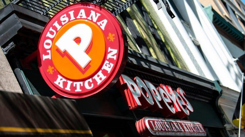 A Popeyes fast food chain restaurant is seen on August 30, 2019 on a street of Washington D.C.