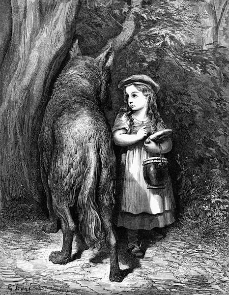 """""""Little Red Riding Hood"""" is a fairy tale about a girl in a cloak and hood (or a cap in the Brothers Grimm version) and a Big Bad Wolf."""