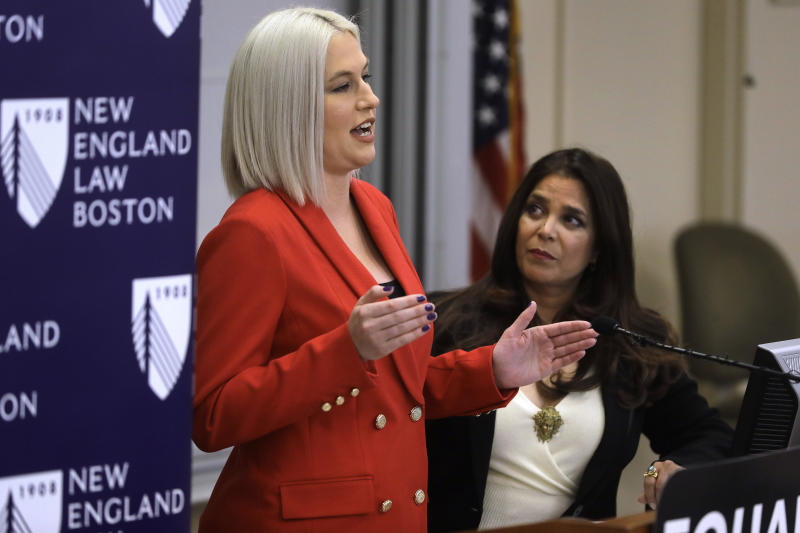 Natalie White, left, vice president of Equal Means Equal, faces reporters as Kamala Lopez, right, president of the organization, looks on during a news conference, Tuesday, Jan. 7, 2020, in Boston, held to address issues about a lawsuit filed in U.S. District Court. Supporters of the Equal Rights Amendment filed the federal lawsuit in Massachusetts aimed at paving the way for adoption of the long-delayed constitutional amendment. (AP Photo/Steven Senne)
