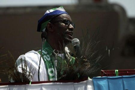 Action Congress of Nigeria (ACN) presidential candidate and former anti-corruption chief Nuhu Ribadu speaks during the flag-off of the ACN governorship campaign in Lagos