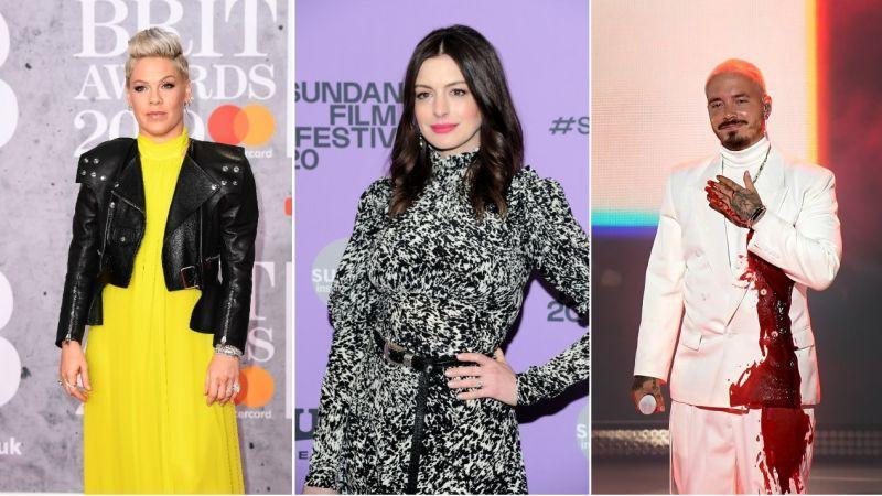 Pink (Photo by Jeff Spicer/Getty Images), Anne Hathaway (Owen Hoffmann/Getty Images for Netflix), J Balvin (Alexander Tamargo/Getty Images for The Latin Recording Academy)