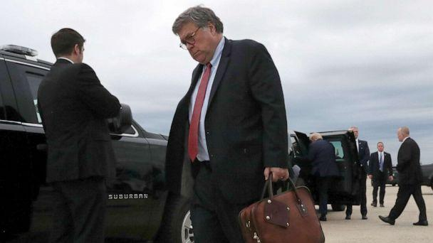 PHOTO: U.S. Attorney General Bill Barr walks to a waiting car upon arriving aboard Air Force One with President Donald Trump, following a day trip to Kenosha, Wis., after landing at Joint Base Andrews, Md., Sept. 1, 2020. (Leah Millis/Reuters)