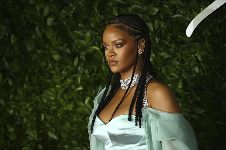 Singer Rihanna poses for photographers upon arrival at the British Fashion Awards in central London, Monday, Dec. 2, 2019. (Photo by Joel C Ryan/Invision/AP)