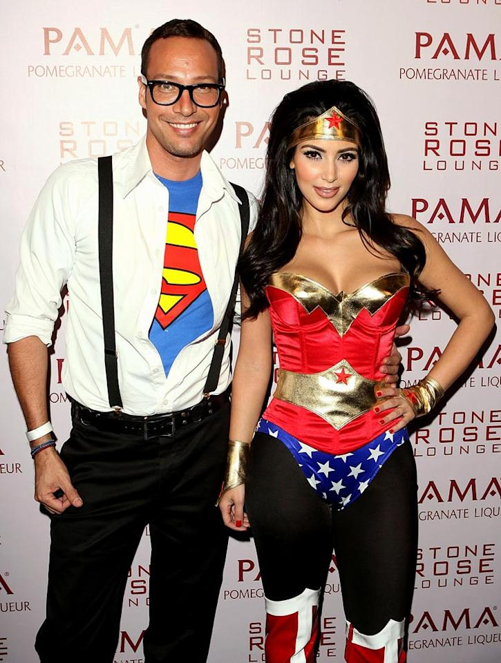 "Superhero costumes were definitely popular. Kim's friend and photographer Troy Jensen portrayed Clark Kent/Superman. Jesse Grant/<a href=""http://www.wireimage.com"" target=""new"">WireImage.com</a> - October 30, 2008"