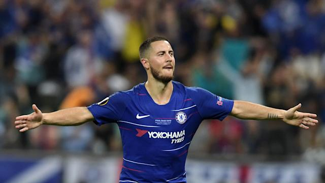 BAKU, AZERBAIJAN - MAY 29: Eden Hazard of Chelsea scores his team's third goal from the penalty spot during the UEFA Europa League Final between Chelsea and Arsenal at Baku Olimpiya Stadionu on May 29, 2019 in Baku, Azerbaijan. (Photo by Alexander Scheuber - UEFA/UEFA via Getty Images)