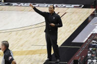 North Carolina State coach Kevin Keatts gestures to the team during the first half of an NCAA college basketball game against UMass-Lowell, Thursday, Dec. 3, 2020, in Uncasville, Conn. (AP Photo/Jessica Hill)