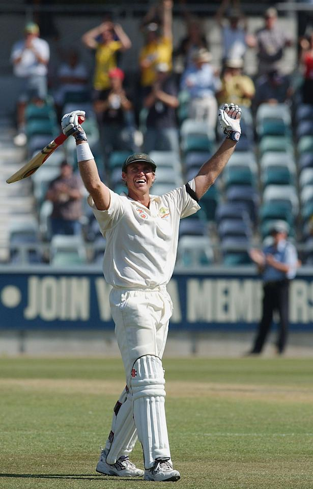 PERTH, AUSTRALIA - OCTOBER 10:  Matthew Hayden of Australia celebrates scoring 376 runs during the second day of the First Test match between Australia and Zimbabwe at the WACA October 10, 2003 in Perth, Australia. (Photo by Jon Buckle/Getty Images)