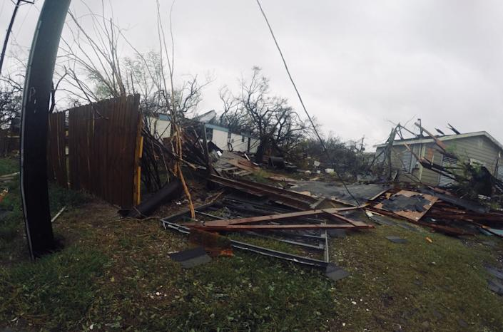 Damage to homes is seen near Rockport