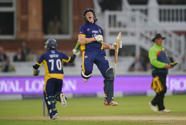 Ben Stokes celebrates after Gareth Breese hit the winning runs during the 2014 Royal London One Day Cup final