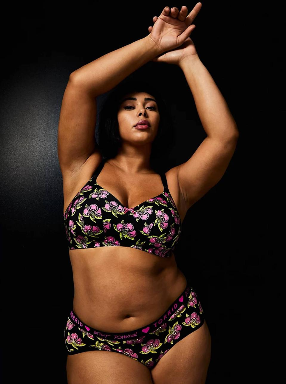"<p><strong>Key selling points:</strong> Featuring celebrated designer Betsey Johnson's iconic cherry print, this super comfy microfiber bra features Torrid's ""Back Smoothing"" technology and can be seamlessly worn underneath everything from dresses to t-shirts.</p> <p><strong>What customers say:</strong> ""I work in a grooming salon and am lifting and bending and wet all day. This bra is comfortable, gives me shape all day and stands up to the wet environment! Bonus: It is CUTE AND FUN!!!"" — <em>SurrealSunshine, reviewer on</em> <a href=""https://cna.st/affiliate-link/8T4QTtG54o1pnBbVA44cyokVJcWT2TYVwpgGuaTceUq22Nr3qWZ1L4fTZirRk5AnP19gH9B1954wVWreaZzL3eUpwMrvAfnuUQzHHF9fuhX5BUMyzg4LkJnPVvEMZu8W4ZgikUPH7zhpcPmLP7YXd2inHXFAJdHY4TZ22rjXzngg3GUQUHYp1TZEwbACgkZ7LJXJ4Pw8MYTaKos1ETXk4mYCnxvFoSsEMHY1UACfq49Aj4b3Vs46A1t5JcC2QDRPnmMJmj7djfHZSP1pwdVMnVpnYVmThwj1cvZ?cid=606b58120c9c81653826c180"" rel=""nofollow noopener"" target=""_blank"" data-ylk=""slk:Torrid"" class=""link rapid-noclick-resp""><em>Torrid</em></a></p> $64, Torrid. <a href=""https://www.torrid.com/product/betsey-johnson-black-cherry-360%C2%B0-back-smoothing%E2%84%A2-lightly-lined-everyday-wire-free-bra/13937932.html?"" rel=""nofollow noopener"" target=""_blank"" data-ylk=""slk:Get it now!"" class=""link rapid-noclick-resp"">Get it now!</a>"